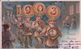 Bonne Année 1903, Enfants Musiciens, Litho Gaufrée (13192) Usure D'un Angle - Nouvel An