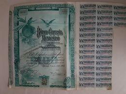Fiscal (Fiscaux) - Action Banco Central Mexicano De 100 Pesos - 1905 - Série A - Timbre Entier Fiscal De 10 Centavos - Bank & Insurance