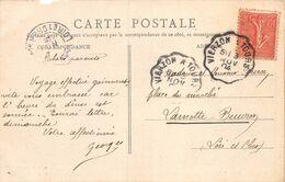 A-20-297 : CARTE DE SAINT-AIGNAN SUR CHER AVEC CACHET AMBULANT VIERZON A TOURS  INDRE ET LOIRE ET CHER. 3 NOVEMBRE 1904 - Postmark Collection (Covers)