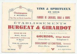 CARTE DE VISITE BURGEAT & GIRARDOT à GOURZON Doulevant Montier-en-Der Haute-Marne. Champagnes Vins... - Visitenkarten