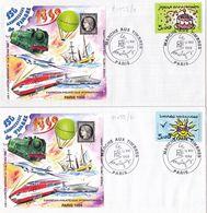 21099# LOT 2 LETTRES Obl MARCHE AUX TIMBRES PARIS 1999 150 ANNIVERSAIRE DU TIMBRE FRANCAIS DENTELE & NON DENTELE - Marcofilie (Brieven)