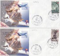 21101# LOT 2 LETTRES Obl MARCHE AUX TIMBRES PARIS 2005 JULES VERNE AIRBUS A380 DENTELE & NON DENTELE - Marcofilie (Brieven)