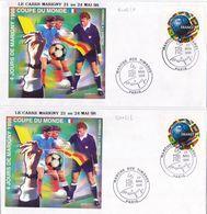 21102# LOT 2 LETTRES Obl MARCHE AUX TIMBRES PARIS 1998 COUPE DU MONDE FOOTBALL ARBITRE DENTELE & NON DENTELE - Marcofilie (Brieven)