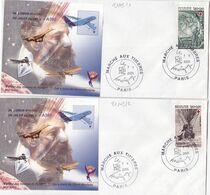 21103# LOT 2 LETTRES Obl MARCHE AUX TIMBRES PARIS 2005 JULES VERNE AIRBUS A380 DENTELE & NON DENTELE - Marcofilie (Brieven)