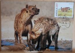 Angola Animal Maxicard, Hyena Stamp And Postcard Cancelled 30.8.86 - Angola