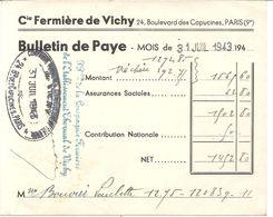 COMP FERMIERE DE VICHY 1943 . BULLETIN DE PAYE - Historische Dokumente