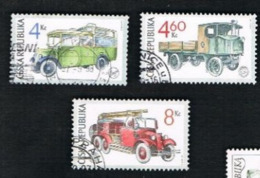 REP. CECA (CZECH REPUBLIC) - SG 170.172  - 1997 HISTORIC SERVICE VEHICLES (COMPLET SET OF 3)  -   USED - República Checa