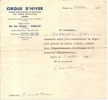 CIRQUE HIVER BOUGLIONE . 1936 .APPROBATION DU REGLEMENT - Historische Dokumente