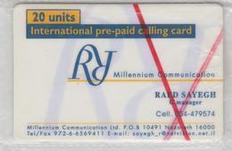 ISRAEL 2000 R.Y.F. COM RR MILLENIUM COMMUNICATION RAED SAYEGH GENERAL MANAGER PHONE CARD SAMPLE - Israele