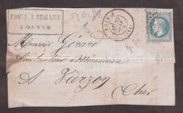 20 Janvier 1870 - T17 Roanne Pour Vierzon - N° 29B (GC 3156 Non Lisible) - 1849-1876: Klassik
