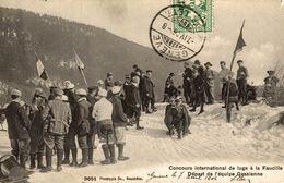 01-LA-FAUCILLE- CONCOURS INTERNATIONAL DE LUGE A LA FAUCILLE DEPART DE L'EQUIPE GESSIENNE - Gex