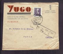 ENVELOPPE GUERRE ESPAGNE Cachet De Censure Militaire CENSURA MILITAR ALMERIA 1939 FALANGE YUGO PROPAGANDE - Marques De Censures Nationalistes