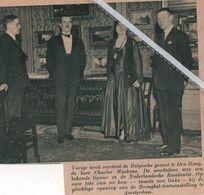 CHARLES MASKENS BELGISCHE GEZANT TE DEN HAAG OVERLEDEN.1937. /  OP FOTO BIJ DE OPENING BREUGEL-TENTOONSTELLING - Old Paper