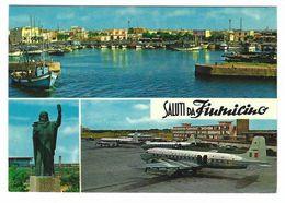 CLB008 - SALUTI DA FIUMICINO 3 VEDUTE 1970 CIRCA ALITALIA AIRPLANE AEREO - Fiumicino