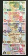 ZAMBIA SET 20 50 100 500 1000 KWACHA BANKNOTES 1992 UNC - Zambia