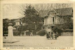 A VOIR ! ANDERNOS 1932 HOTEL BEAU SEJOUR ANIME STATUE DE LA REPUBLIQUE THEMES HOTELS BASSIN ARCACHON GIRONDE - France