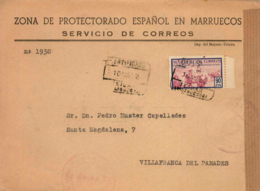 Marruecos. Carta Certificada De Tetuán A Vilafranca Del Penedes. Año 1952. - Maroc Espagnol