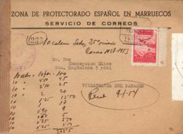 Marruecos. Carta Certificada De Tetuán A Vilafranca Del Penedes. Año 1953. - Maroc Espagnol