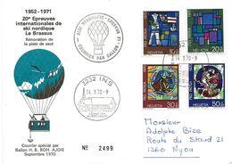 """105 - 37 - Enveloppe Suisse """"courrier Ballon 20è Epreuves Intl Ski Nordique Le Brassus 1971 - Fesselballons"""
