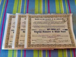 Sté  JAPY  FRÈRES  &  Cie ----------------  Lot  De  3  Obligations   Nominatives   De  1.000 Frs - Industrie