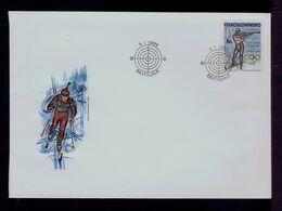 Tir (arms) Winter Olympics Games ALBERTVILLE 1992 Ceskoslovensko Bratislava Fdc  Sp6996 - Shooting (Weapons)