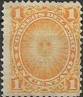 PERU 1874 Sun-god - 1c - Orange FU - Peru
