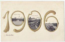 RIVE-DE-GIER (42) – Année 1906, En Chiffres Gaufrés Et Dorés. Multivues. - Rive De Gier