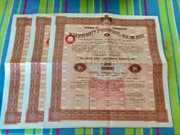 ROYAUME  De YOUGOSLAVIE  EMPRUNT  FUNDING  OR  5%  1933 --------Lot  De  3  Obligations  De  250 Frs - Hist. Wertpapiere - Nonvaleurs