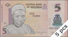 TWN - NIGERIA 38c - 5 Naira 2011 DEALERS LOT X 5 - Polymer - Prefix CB UNC - Nigeria
