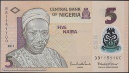TWN - NIGERIA 38d - 5 Naira 2013 Printing (serial) Error - Polymer - Prefix BB UNC - Nigeria