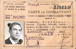 France, Carte De Combattant. - Historische Dokumente