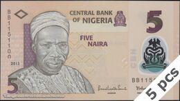 TWN - NIGERIA 38d - 5 Naira 2013 DEALERS LOT X 5 - Printing (serial) Error - Polymer - Prefix BB UNC - Nigeria
