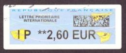 France -  Vignette De Guichet  # Internationale Lettre Prioritaire € 2.60 # - 2010-... Illustrated Franking Labels