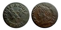 LOUIS XIII Double Tournois Type De Warin 1642 A (Corbeil) - 987-1789 Geld Van Koningen
