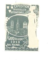 GAND Belgique 1913  Exposition Universelle & Internationale Vignette Gauffrée Erinnophilie Gomme** TB 2 Scans - Erinnophilie