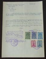 Yugoslavia 1957 Serbia Local KRUSEVAC Revenue Fiscal Stamps On Document BD50 - Storia Postale