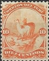 PERU 1866 Vicuna - 10c - Red MH - Peru