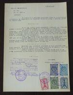 Yugoslavia 1957 Serbia Local KRUSEVAC Revenue Fiscal Stamps On Document BD60 - Storia Postale