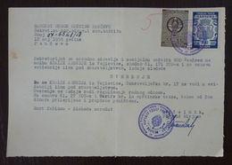 Yugoslavia 1958 Serbia Local PANCEVO Revenue Fiscal Stamp On Document BD79 - Storia Postale