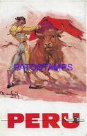 139458 PERU ART SIGNED BULLFIGHTER AVIATION AIRLINES PANAGRA POSTAL POSTCARD - Peru