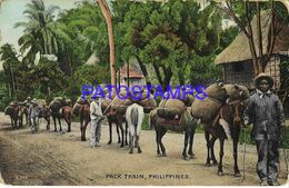 139463 PHILIPPINES COSTUMES NATIVE PACK TRAIN POSTAL POSTCARD - Philippines