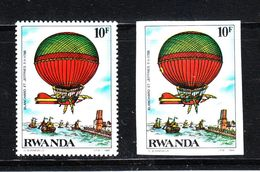 """Rwanda  -  1984. Storia Delle Mongolfiere. """" Blanchard """" (1785). History Of Hot Air Balloons. MNH Perf  And Imperf. - Fesselballons"""