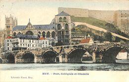 Huy - Pont, Collégiale Et Citadelle (colorisée, Librairie Faust 1911) - Huy