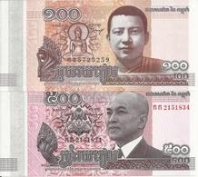 CAMBODGE 100-500 RIELS 2014 UNC P 65-66 ( 2 Billets ) - Cambogia
