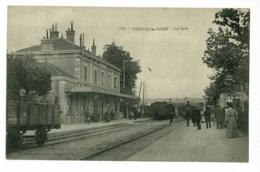 1163 - Thonon Les Bains - La Gare (animation Train Entrant En Gare) Circulé 1907, Cachet Convoyeur D'Evian à ???? - Thonon-les-Bains