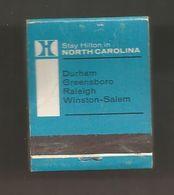 Boite D'allumettes , Pochette, HILTON, NORTH CAROLINA, Durham, Greensboro, Raleigh, Winston-Salem , ETATS UNIS , 2 Scans - Matchboxes
