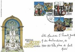 PORTUGAL (Azores) - Festivities Of The Divine Holy Spirit - Real Circulated FDC With Commemorative Postmark - Celebrations