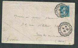 Algérie. Convoyeur Station Colomb Bechar à Aïn Sefra  Pour Issy Les Moulineaux Avec 25ct Semeuse - Briefe U. Dokumente