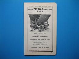 (1914) Locomotives, Wagons - Usines PÉTOLAT - Dijon -- Matériel Pour Minoteries Et Boulangeries - PH. LAFON à Tours - Old Paper