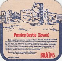 BEERMAT - BRAINS BREWERY  (CARDIFF, WALES) - PENRICE CASTLE GOWER - (Cat No 039) - (1975) - Portavasos